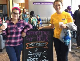 Image of students at Coffee Hour