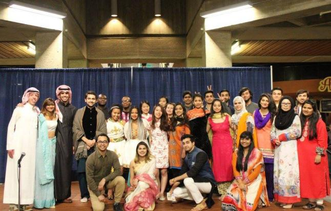 Image of international students in traditional clothing at spring diversity showcase 2016